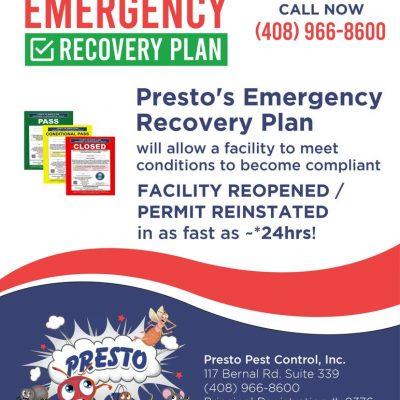 General Pest Control - Restaurant Service - Food Establishment Emergency Recovery Plan Flyer.