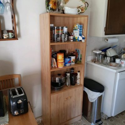 Rodent hidden behind the cabinet at the top of a cabinet in the Kitchen during mid day trapped by two Terriers 1of2.